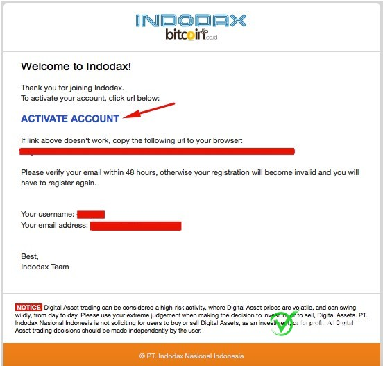 Langkah 3 daftar akun indodax
